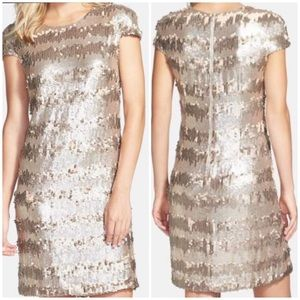 750694f2f72d Vera Wang. Vera Wang Sz 2 Paillette & Sequin Gold Shift Dress